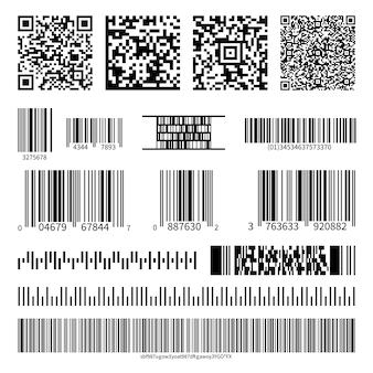 Códigos de barras de negócios e conjunto de vetores de códigos qr