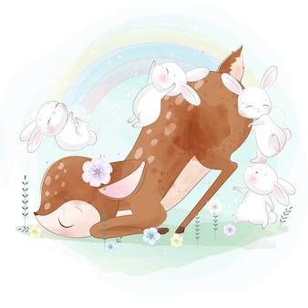 Coelhinha brincando com veados