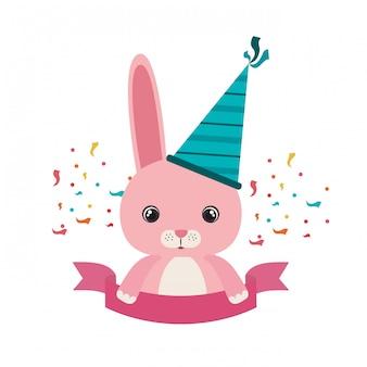 Coelhinha com chapéu de festa