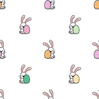 Coelhinha com ovo de páscoa dos desenhos animados sem costura padrão