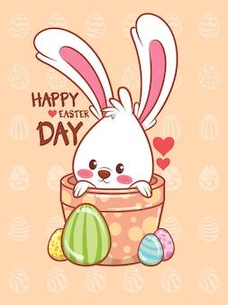 Coelhinha com ovos de páscoa decorada. ilustração de personagem de desenho animado feliz dia de páscoa conceito.
