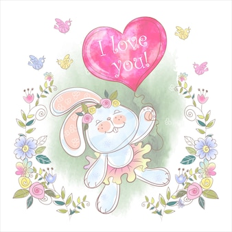 Coelhinha com um balão em forma de coração