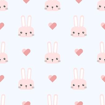 Coelhinha de coelho com padrão sem emenda de coração dos desenhos animados