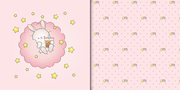 Coelhinha fofa bebendo smoothie em uma nuvem rosa com estrelas padrão uniforme