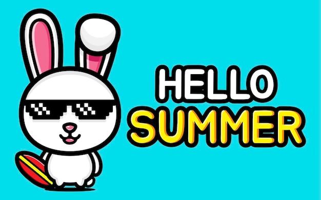 Coelhinha fofa com banner de saudação de verão