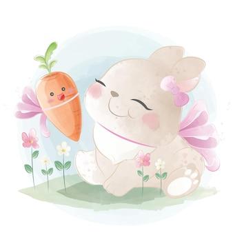 Coelhinha fofa com cenoura bebé