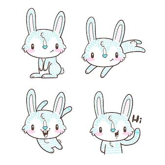 Coelhinha fofa e coelho doodle dos desenhos animados