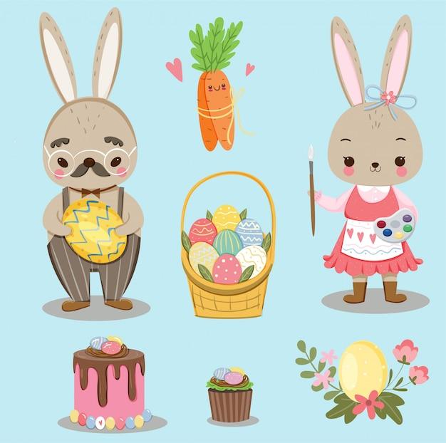 Coelhinha fofa e elementos bonitos de variedade para o feriado do dia de páscoa