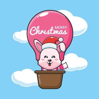Coelhinha fofa no dia de natal, voe com balão de ar. ilustração fofa dos desenhos animados de natal