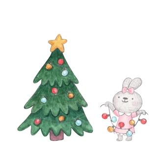 Coelhinha fofa personagem aquarela decora árvore de natal com guirlanda de lâmpadas coloridas