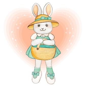 Coelhinha linda em aquarela com cesta de piquenique, vestido turquesa e chapéu de feno