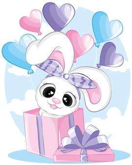 Coelhinha segurando balões em caixa de presente.