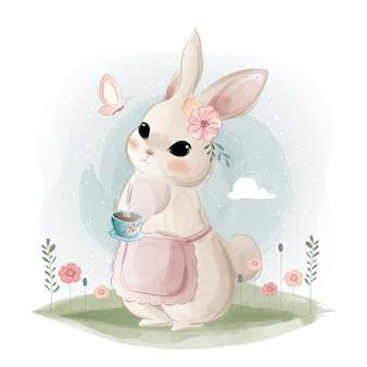 Coelhinha segurando uma xícara de chá