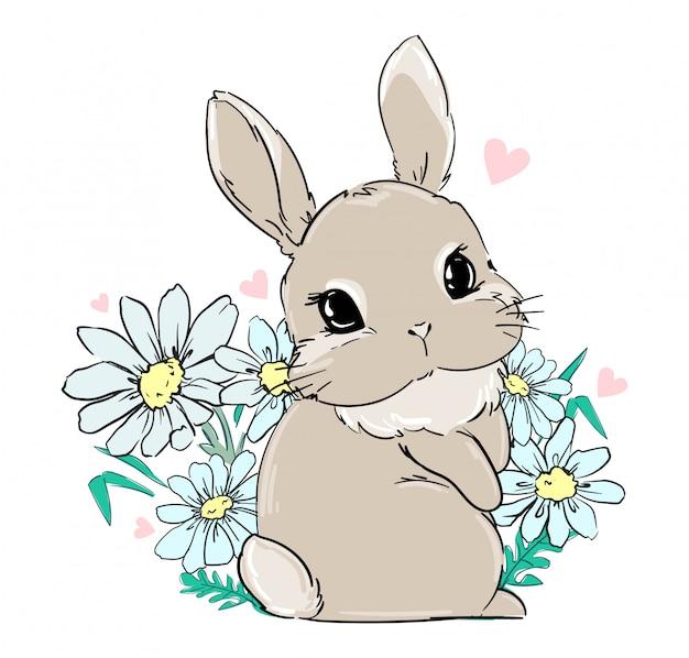 Coelhinha senta-se em flores, margaridas. imprimir para têxteis infantis, design de cartaz, berçário. rabo de coelho fofo. estoque de ilustração.