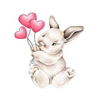 Coelhinho aquarela com balões de coração vermelho