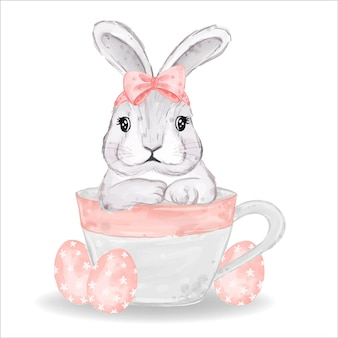 Coelhinho aquarela com ovos rosa