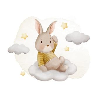 Coelhinho aquarela fofo e ilustração da nuvem