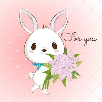 Coelhinho branco fofo com buquê de lírio
