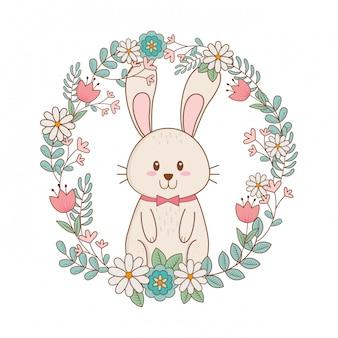 Coelhinho com grinalda personagem de páscoa de flores