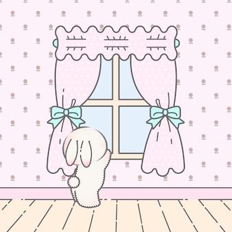 Coelhinho cue kawaii inclinado para fora da janela