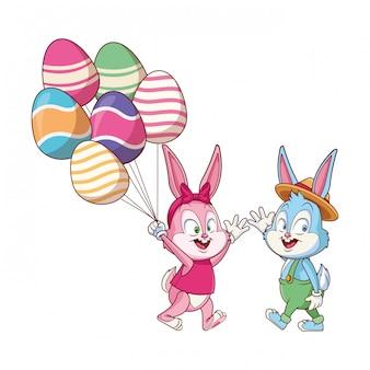 Coelhinho da páscoa bonito feliz amigos egg ballons