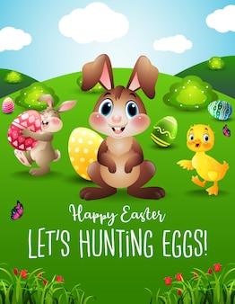 Coelhinho da páscoa, caçando ovos de páscoa