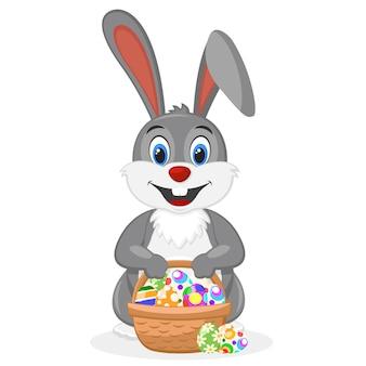 Coelhinho da páscoa com uma cesta cheia de ovos decorados em um branco.