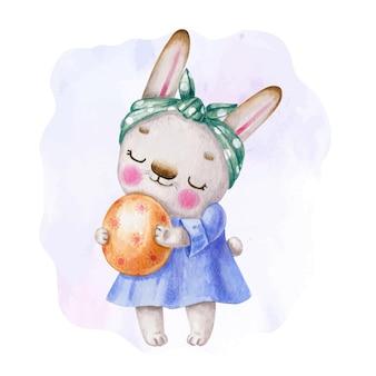Coelhinho da páscoa em aquarela com ovo