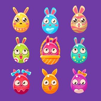 Coelhinho da páscoa em forma de ovo em desenhos diferentes
