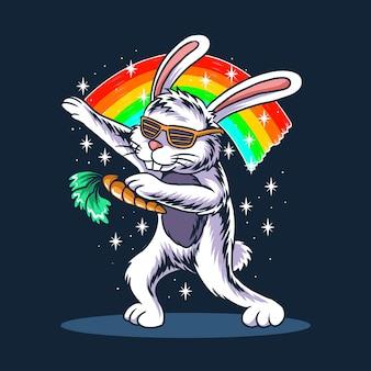 Coelhinho da páscoa enxugando usando óculos e carregando cenouras