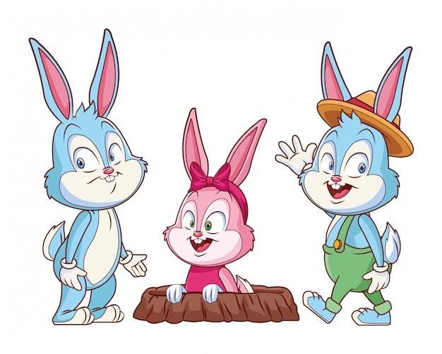 Coelhinho da páscoa feliz amigos coelho buraco