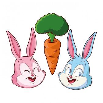 Coelhinho da páscoa feliz amigos retrato com cenoura