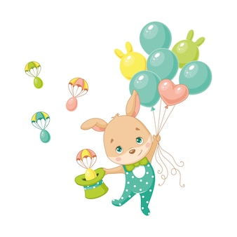 Coelhinho da páscoa voando em balões