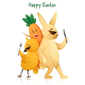 Coelhinho de desenho animado com personagem de cenoura e pintinho juntos