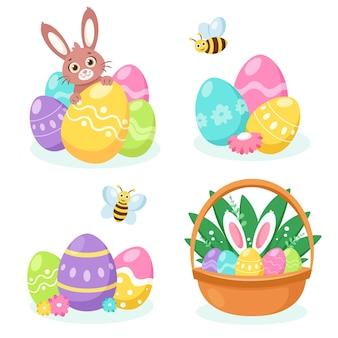 Coelhinho dos elementos da páscoa, cesta com ovos, ovos da páscoa Vetor Premium