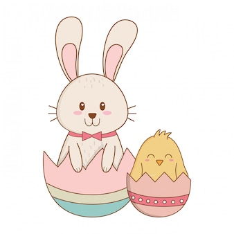Coelhinho e chick com ovo pintado personagens de páscoa