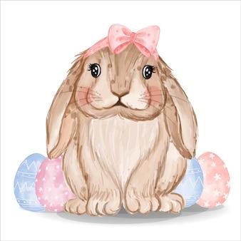 Coelhinho em aquarela com ovos rosa e azuis
