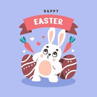 Coelhinho feliz no plano de fundo do dia de páscoa