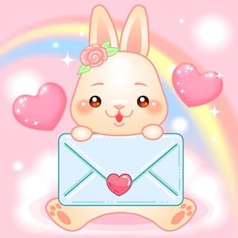 Coelhinho fofo com envelope em um mundo de fantasia de arco-íris