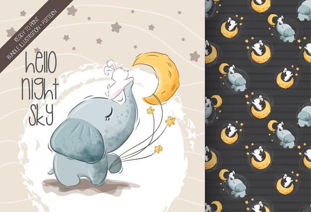 Coelhinho fofo de elefante com padrão sem emenda