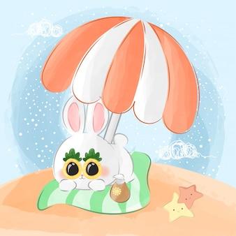 Coelhinho fofo e ilustração feliz verão