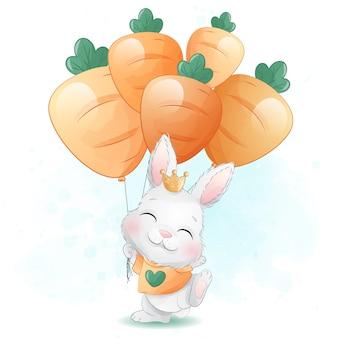Coelhinho fofo segurando uma ilustração de balão de cenoura