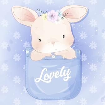 Coelhinho fofo sentado dentro de um bolso