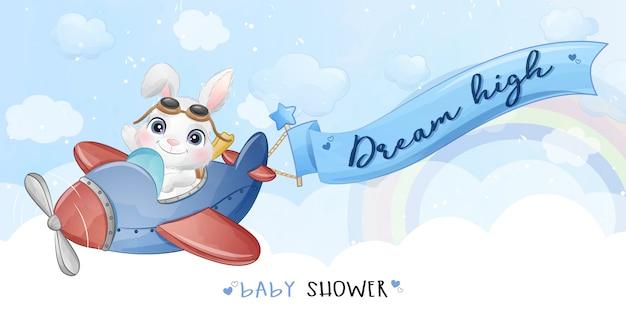 Coelhinho fofo voando com ilustração de avião
