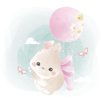 Coelhinho fofo voando com um balão florido