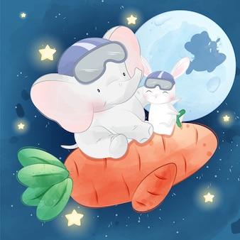 Coelhinho fofo voando na lua com elefante