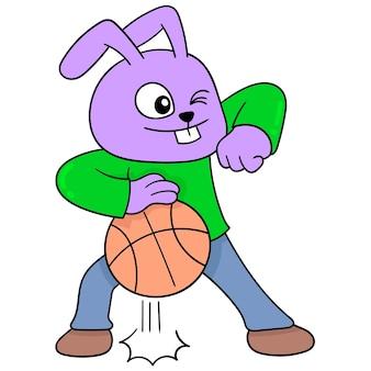 Coelhinho jogando basquete driblando, arte de ilustração vetorial. imagem de ícone do doodle kawaii.