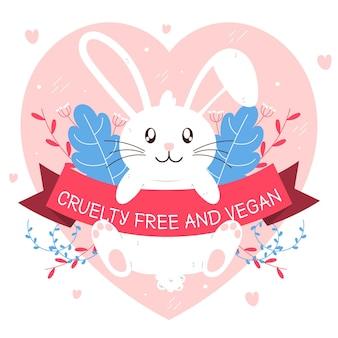 Coelhinho segurando uma fita com mensagem vegana e gratuita de crueldade