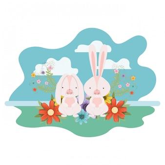 Coelhinhos da páscoa com ícone isolado de paisagem