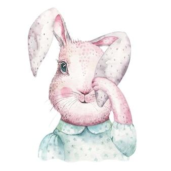 Coelhinhos da páscoa em aquarela dos desenhos animados com folhas, galhos e penas.